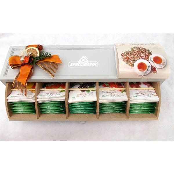 Cassettiera in legno con infusi alla frutta specchiasol for Regalo cassettiera