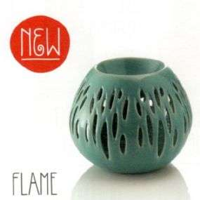miniatura: Brucia essenze in ceramica verde Flame